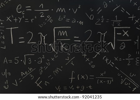 Multiple physical formulas written on a blackboard - stock photo