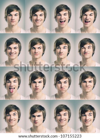 Multiple portraits of a young man doing grimaces - stock photo
