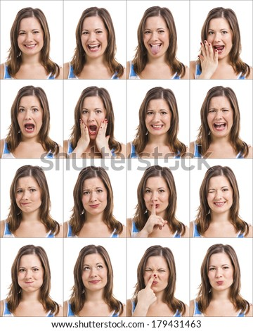 Multiple portraits of the same girl with different expressions - stock photo