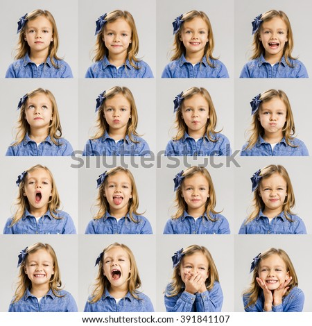 Multiple portraits of the same little girl making diferent expressions - stock photo