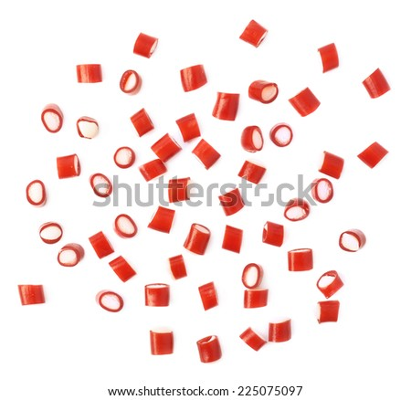 Multiple red and white candy sweets spilled over the white surface, composition isolated over the white background, top view above foreshortening - stock photo