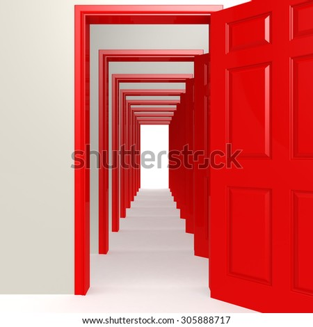 Multiple red doors in a row image with hi-res rendered artwork that could be used for any graphic design. - stock photo