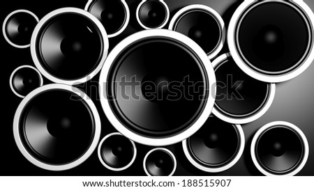 Multiple various size black speakers background  - stock photo