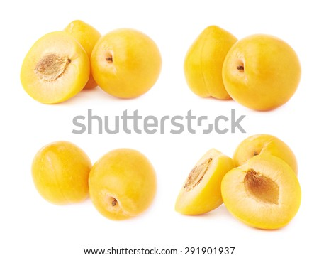 Multiple yellow mirabelle plum fruits composition isolated over the white background, set of four different foreshortenings - stock photo