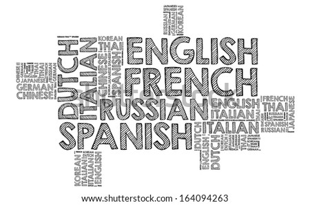 Multiples language in word cloud - stock photo
