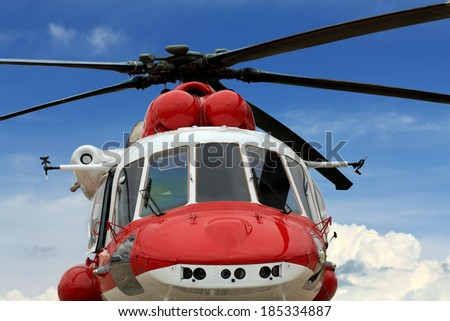 Multipurpose rescue  helicopter, front view - stock photo