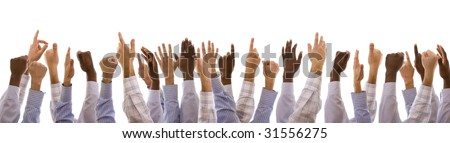multiracial hands gesturing together (isolated on white) - stock photo