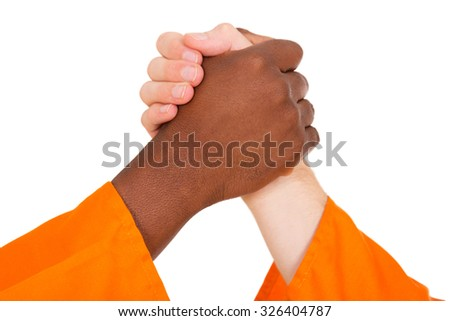 multiracial men holding hands isolated on white  - stock photo