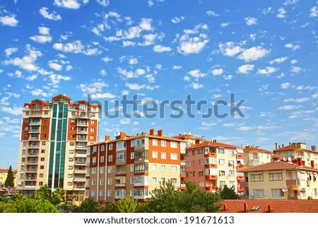 Multistoried living block of flats. Residential apartment buildings. Suburban accommodation. - stock photo