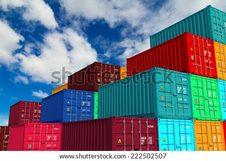 Multitiered of Colorful Cargo Containers on Sky Background. Logistics Concept. - stock photo