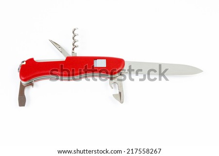 Multitool red army knife isolated on white background. - stock photo