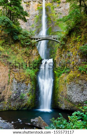 Multnomah Falls and bridge in the Columbia River Gorge, Oregon  - stock photo
