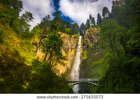 Multnomah Falls and bridge, in the Columbia River Gorge, Oregon. - stock photo