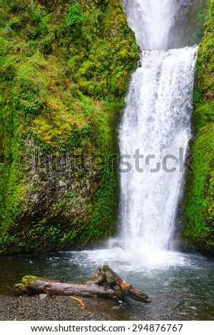 Multnomah Waterfalls at Columbia, Columbia Gorge - stock photo
