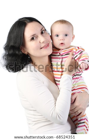 Mum holds on hands of the baby. It is isolated on a white background - stock photo