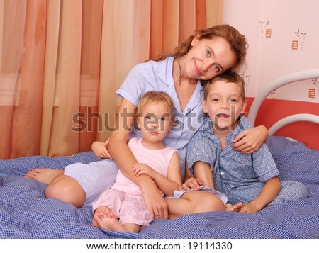 Mum with children of the house - stock photo