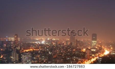 Mumbai at night from high angle - stock photo