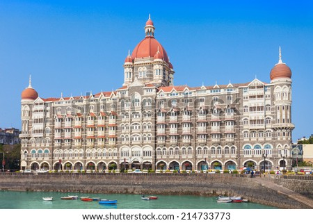 MUMBAI, INDIA - FEBRUARY 21: The Taj Mahal Palace Hotel on Febuary 21, 2014 in Mumbai, India - stock photo