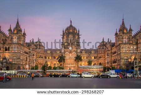 MUMBAI, INDIA - 17 JANUARY 2015: Chhatrapati Shivaji Terminus at sunset. It serves as headquarters of the Central Railways. - stock photo