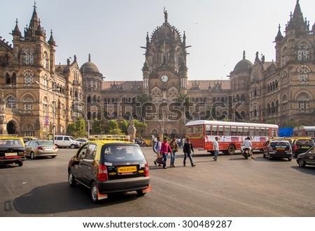 MUMBAI, INDIA - 17 JANUARY 2015: Chhatrapati Shivaji Terminus is a UNESCO World Heritage Site and historic railway station. It serves as headquarters of the Central Railways. - stock photo