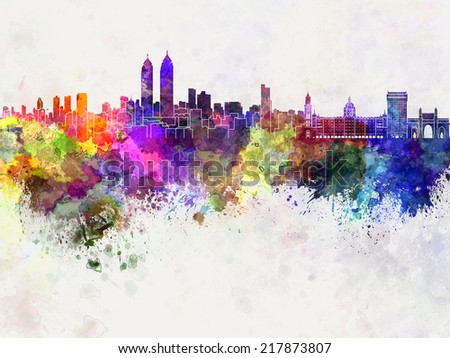 Mumbai skyline in watercolor background - stock photo