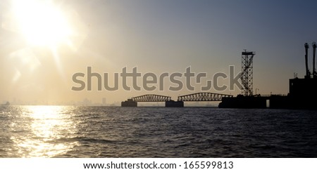 Mumbai skyline, sunset  - stock photo
