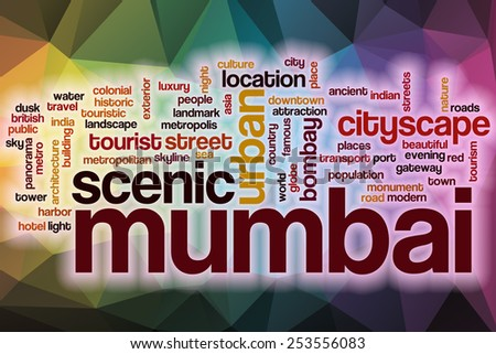 Mumbai word cloud concept with abstract background - stock photo