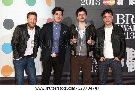 Mumford & Sons arriving for the Brit Awards 2013 at the O2 Arena, Greenwich, London. 20/02/2013 Picture by: Henry Harris - stock photo