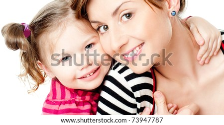 mummy and her kid on a white - stock photo