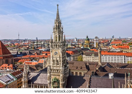 Munchen. New town Hall building, Munich Germany, Marienplatz, clock tower - stock photo