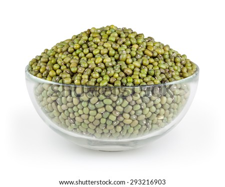 Mung beans isolated on white background with clipping path - stock photo