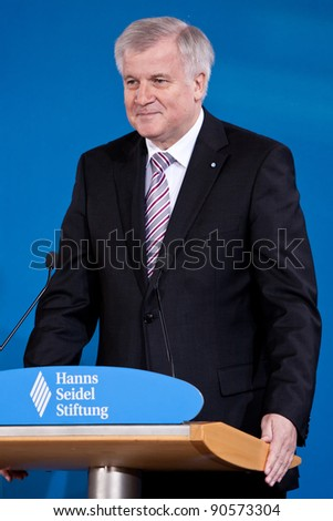 MUNICH - DECEMBER 10: Laudator Horst Seehofer,  Prime Minister of Bavaria, made a speech at the Award for the Franz-Josef Strauss Prize for Mikhail Gorbachev in Munich on December 10, 2011. - stock photo