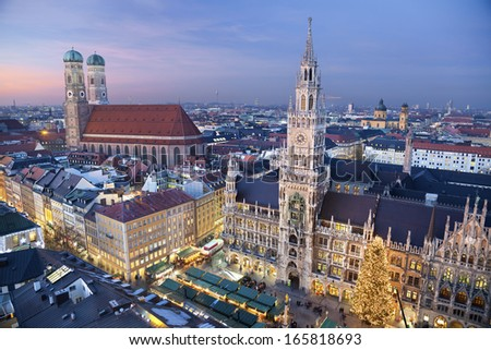 Munich, Germany. Aerial image of Munich, Germany with Christmas Market and Christmas decoration during sunset. - stock photo