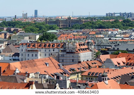 Munich, Germany. Aerial view from the New Town Hall  - stock photo