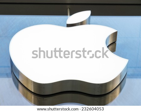 MUNICH, GERMANY - APRIL 22 - Apple logo at a store  - photographed April 22, 2011 in Munich - Germany.  - stock photo