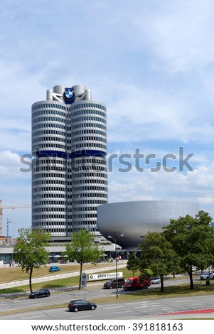 MUNICH, GERMANY - 4 AUGUST 2015: BMW Headquarters and Museum. The Museum deals with the history of the automobile manufacturer BMW. It is designed by Karl Schwanzer. - stock photo