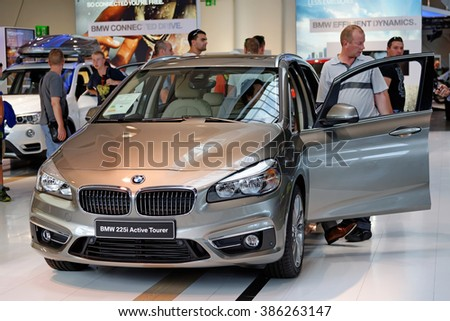 MUNICH, GERMANY - 4 AUGUST 2015: BMW 225i at the BMW Welt, a customer experience and exhibition facility of the BMW AG, Munich, Germany - stock photo