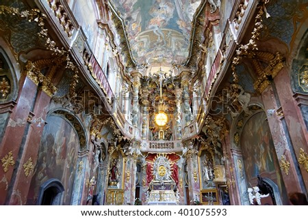 MUNICH, GERMANY - AUGUST 4, 2015: Interior of Asamkirche(St. Johann Nepomuk). The church was built in 1733-1746 and is considered to be one of the main representatives of southern German Late Baroque. - stock photo