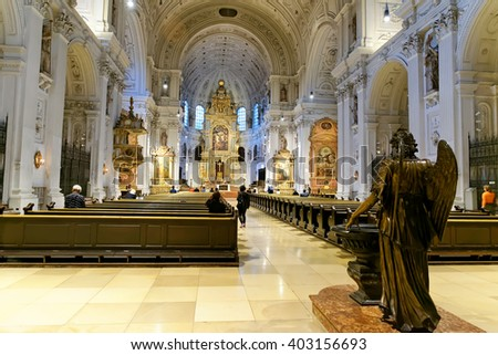 MUNICH, GERMANY - AUGUST 2, 2015: Interior of St. Michael's Church on Neuhauser Strasse. It is the largest Renaissance church north of the Alps. - stock photo