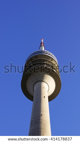MUNICH, GERMANY - DECEMBER 03, 2015: The Olympic Tower (Olympiaturm) with height of 291m is located in the Olympic Park in Munich, Germany - stock photo