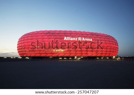 MUNICH, GERMANY - JULY 1, 2013: Detail of the membrane shell of the football stadium Allianz Arena in Munich, Germany, designed by Herzog & de Meuron and ArupSport. - stock photo