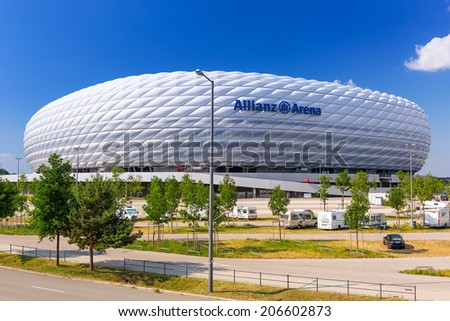 MUNICH, GERMANY - 19 JUNE 2014: Allianz Arena stadium in sunny day in Munich, Germany. The Allianz Arena is home football stadium for FC Bayern Munich with a 69,901 seating capacity. - stock photo
