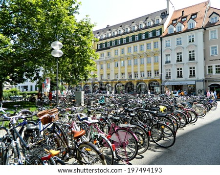 MUNICH,GERMANY - JUNE 30,2012. Summer cityscape . Bicycle parking. - stock photo