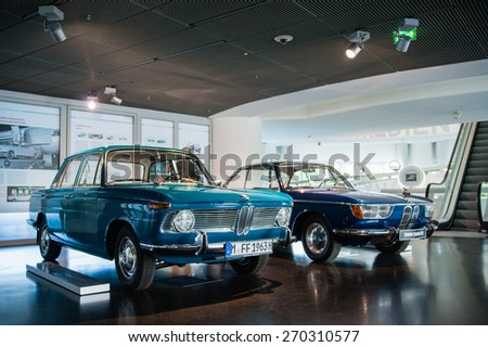 MUNICH / GERMANY - JUNE 4, 2011; The BMW 1500 car in BMW Museum. - stock photo