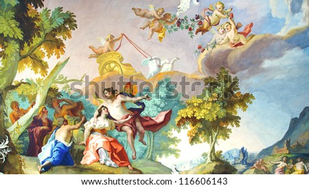 MUNICH, GERMANY - JUNE 07:  The fresco in Rococo style decorating interior of the Nymphenburg Palace. This palace was the main summer residence of the rulers of Bavaria.  June 07, 2012 Munich, Germany - stock photo