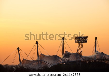 MUNICH, GERMANY - MARCH 15, 2015: Olympic Stadium (Olympiastadium) at sunset, Munich, Bavaria, Germany - stock photo