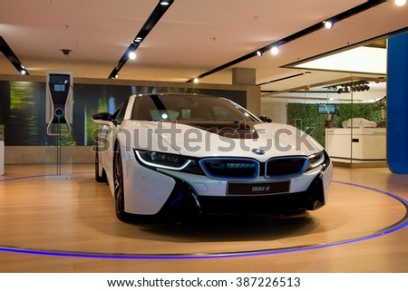 MUNICH, GERMANY - 5 MARCH 2016: The BMW i8 presented at BMW Welt showroom in Munich, Germany. - stock photo
