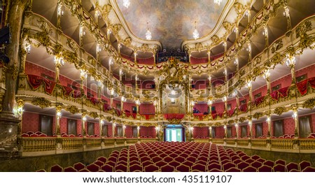 MUNICH, GERMANY - MAY 27, 2016: inside famous Munich Residence theater, the former royal palace of the Bavarian monarchs of the House of Wittelsbach. - stock photo