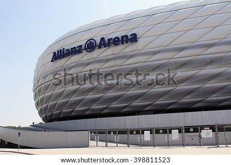 MUNICH, GERMANY - MAY 2, 2011: The football stadium Allianz Arena in Munich, Germany - stock photo