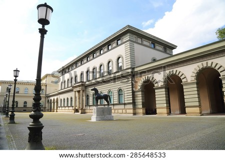 MUNICH, GERMANY - MAY 17: yard of  Bavarian National Archive on May 17, 2015 in Munich. This building is an example of italian styled architecture in Munich, Germany. - stock photo